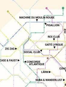 carte du métro des clubs à Paris