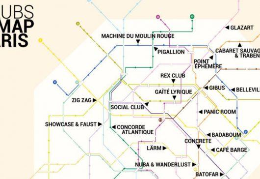La carte du métro des clubs parisiens