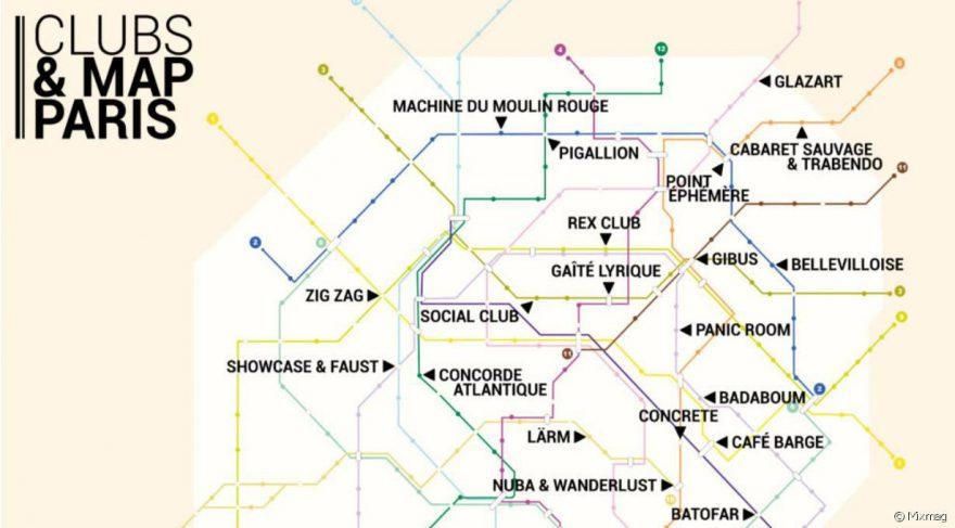 carte du métro des clubs à Paris
