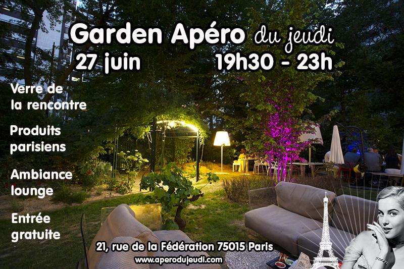 apéro dans jardin à Paris